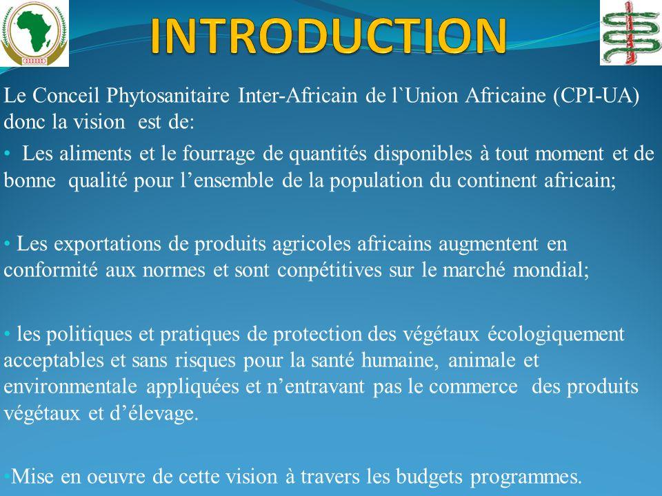 Le Conceil Phytosanitaire Inter-Africain de l`Union Africaine (CPI-UA) donc la vision est de: Les aliments et le fourrage de quantités disponibles à t