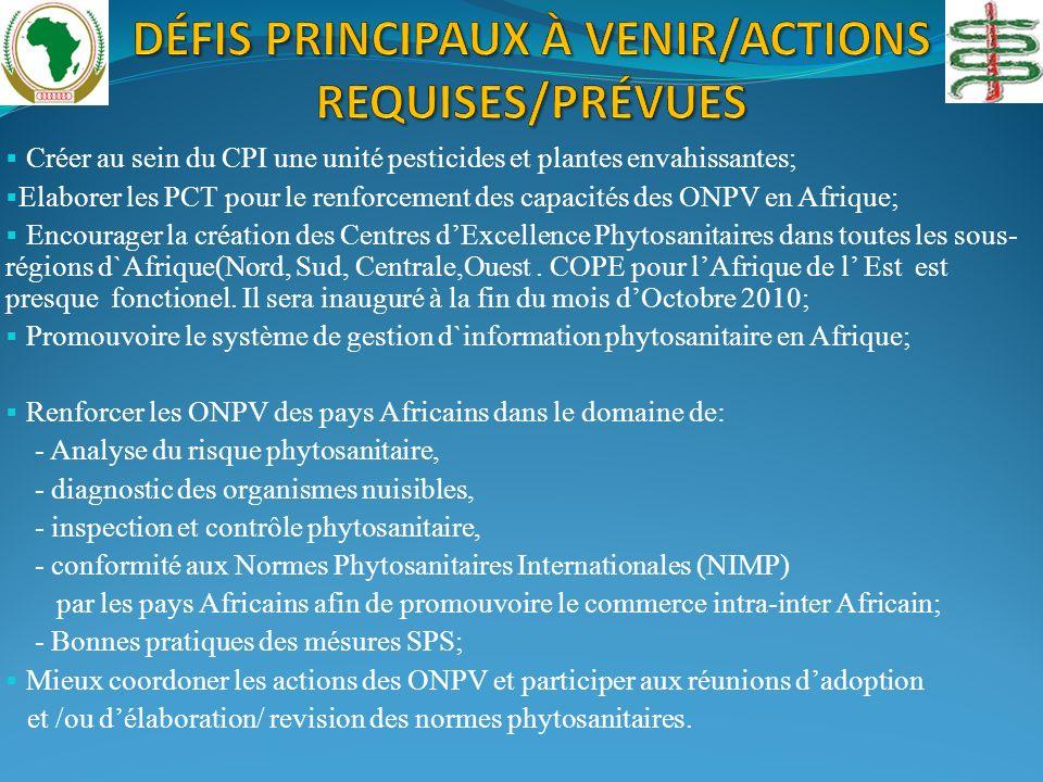 Créer au sein du CPI une unité pesticides et plantes envahissantes; Elaborer les PCT pour le renforcement des capacités des ONPV en Afrique; Encourager la création des Centres dExcellence Phytosanitaires dans toutes les sous- régions d`Afrique(Nord, Sud, Centrale,Ouest.