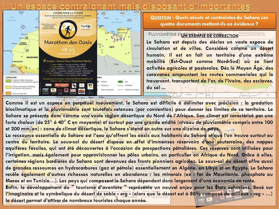 P LUVIOMÉTRIE ET ZONES CLIMATIQUES Q UESTION : Quels atouts et contraintes du Sahara ces quatre documents mettent-ils en évidence ? U N EXEMPLE DE COR