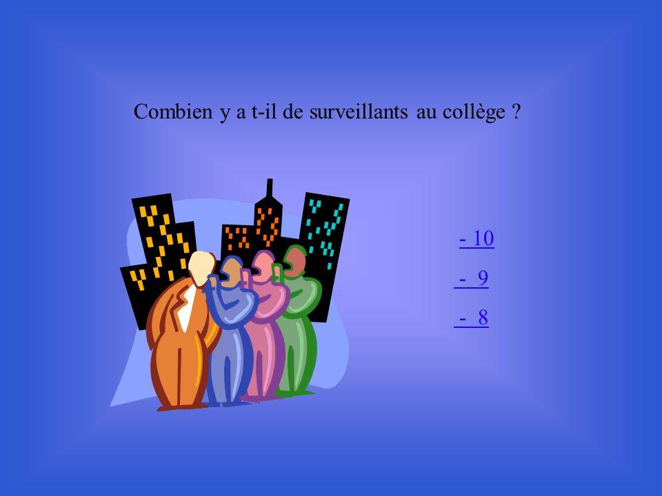 Combien y a t-il de surveillants au collège ? - 10 - 9 - 8
