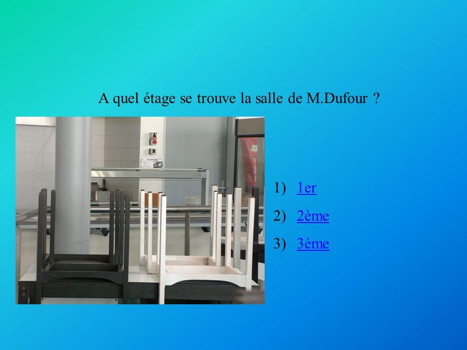 A quel étage se trouve la salle de M.Dufour ? 1)1er1er 2)2ème2ème 3)3ème3ème