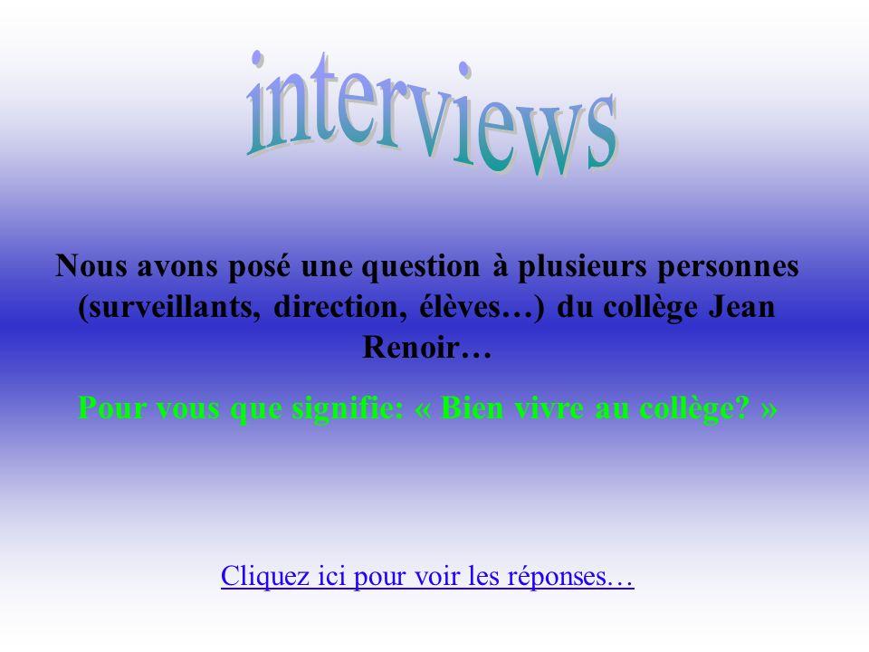 Nous avons posé une question à plusieurs personnes (surveillants, direction, élèves…) du collège Jean Renoir… Pour vous que signifie: « Bien vivre au