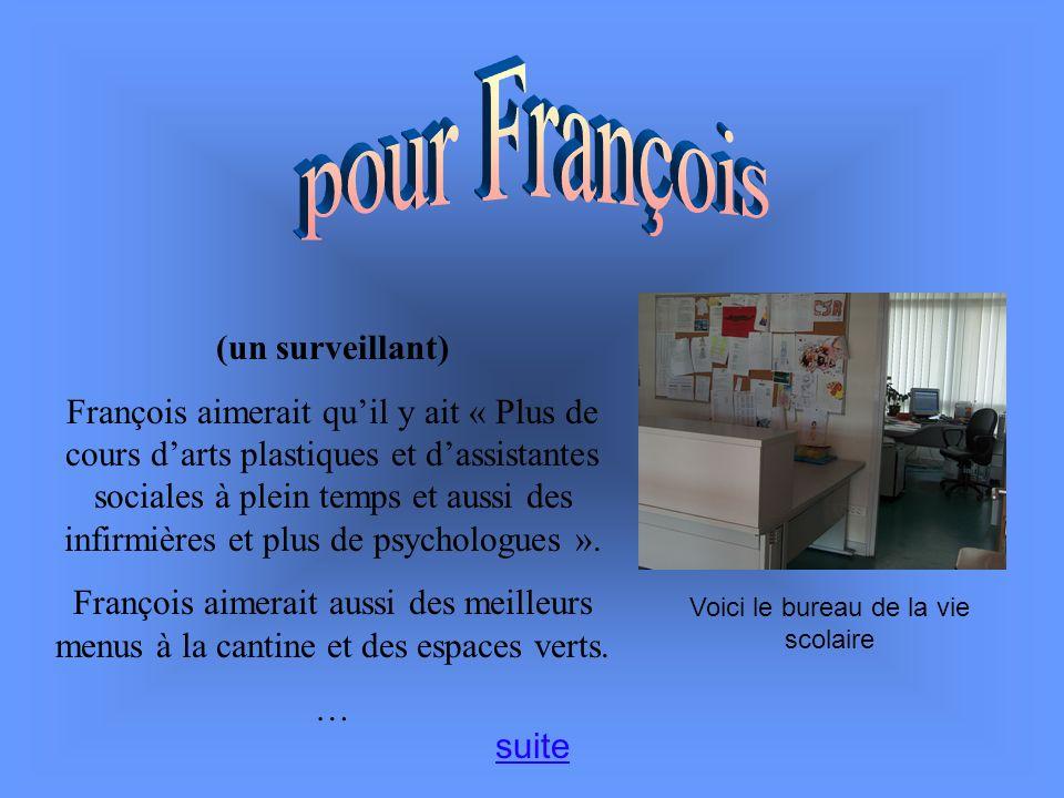 (un surveillant) François aimerait quil y ait « Plus de cours darts plastiques et dassistantes sociales à plein temps et aussi des infirmières et plus