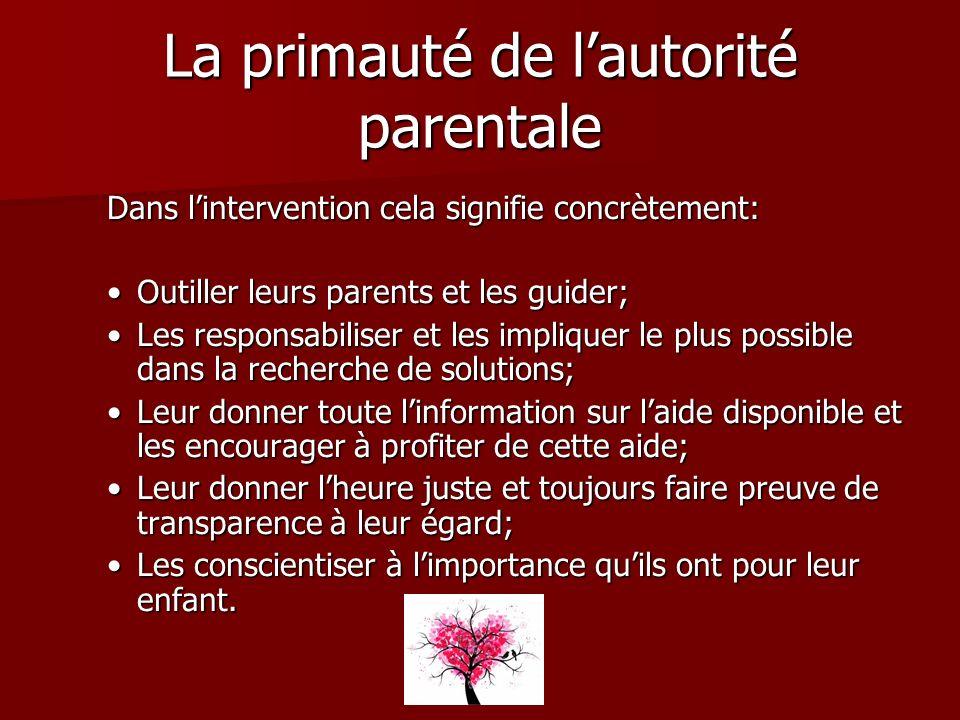 La primauté de lautorité parentale Dans lintervention cela signifie concrètement: Outiller leurs parents et les guider;Outiller leurs parents et les g