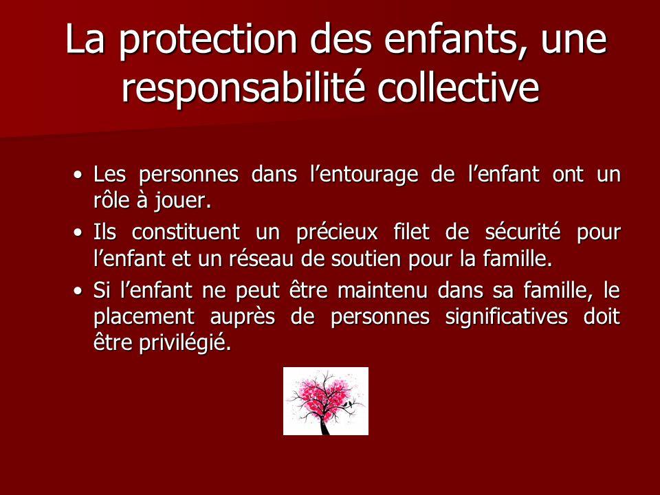 La protection des enfants, une responsabilité collective La protection des enfants, une responsabilité collective Les personnes dans lentourage de len