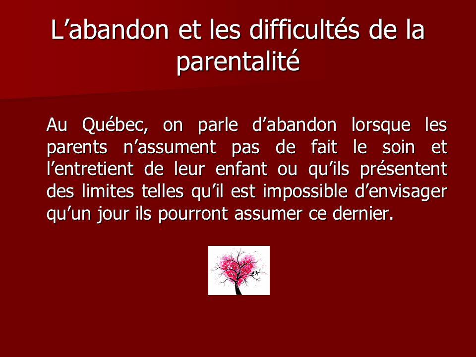 Labandon et les difficultés de la parentalité Au Québec, on parle dabandon lorsque les parents nassument pas de fait le soin et lentretient de leur en