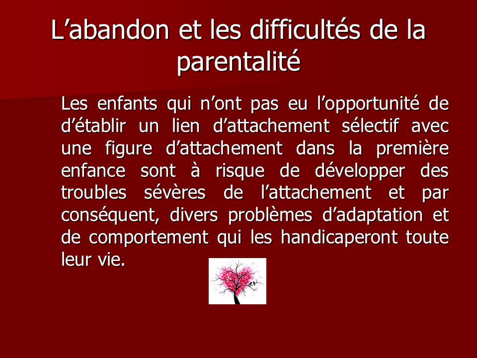 Labandon et les difficultés de la parentalité Les enfants qui nont pas eu lopportunité de détablir un lien dattachement sélectif avec une figure datta