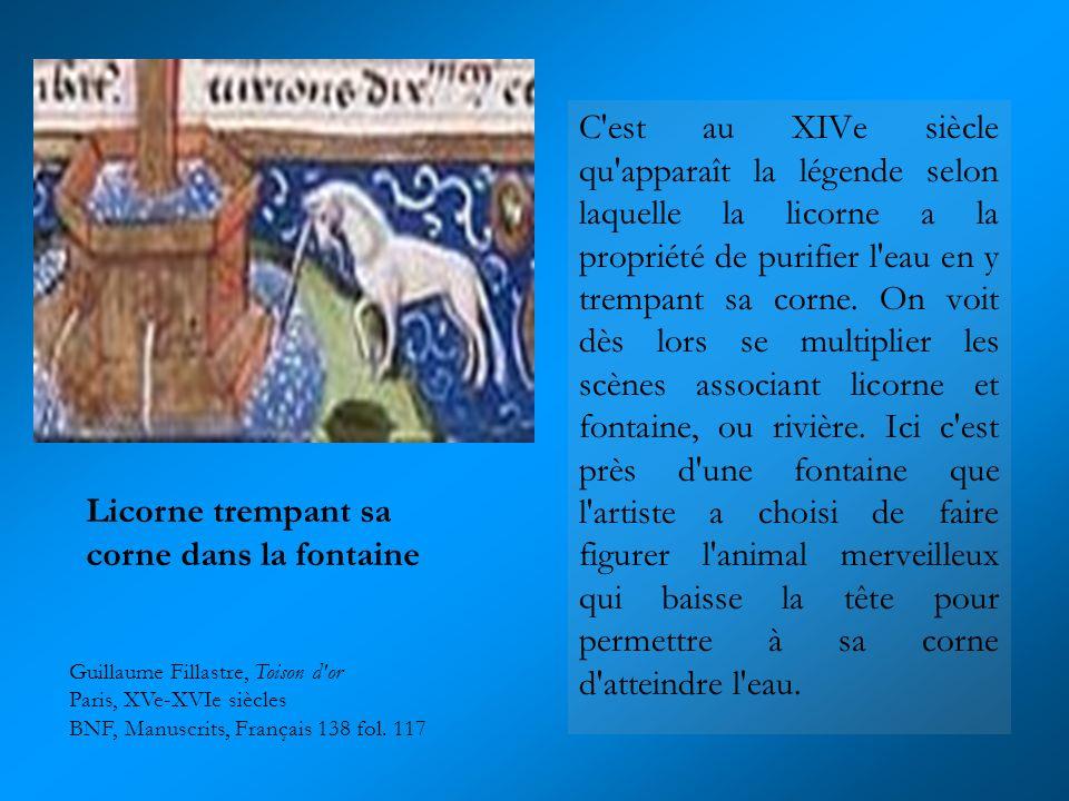 C'est au XIVe siècle qu'apparaît la légende selon laquelle la licorne a la propriété de purifier l'eau en y trempant sa corne. On voit dès lors se mul