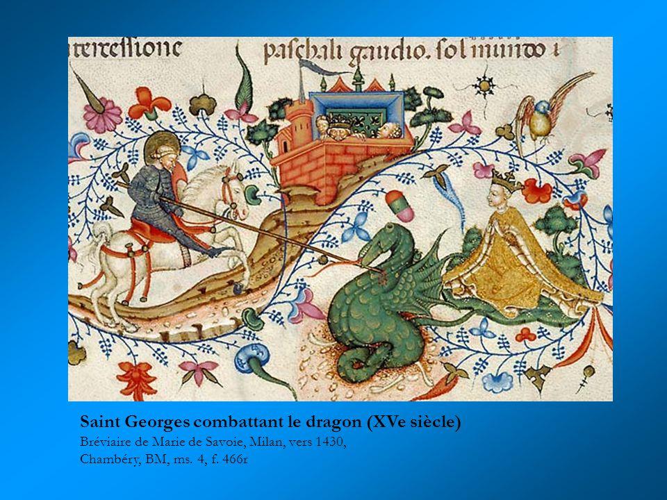 Saint Georges combattant le dragon (XVe siècle) Bréviaire de Marie de Savoie, Milan, vers 1430, Chambéry, BM, ms. 4, f. 466r