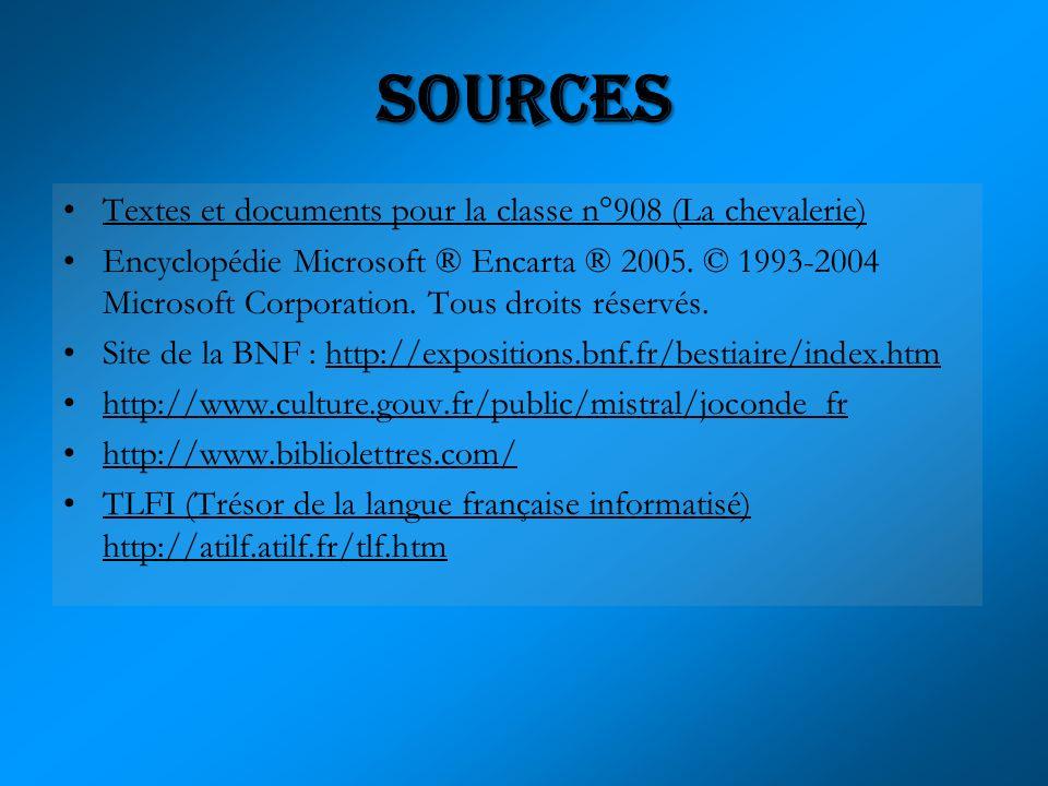 Textes et documents pour la classe n°908 (La chevalerie) Encyclopédie Microsoft ® Encarta ® 2005. © 1993-2004 Microsoft Corporation. Tous droits réser