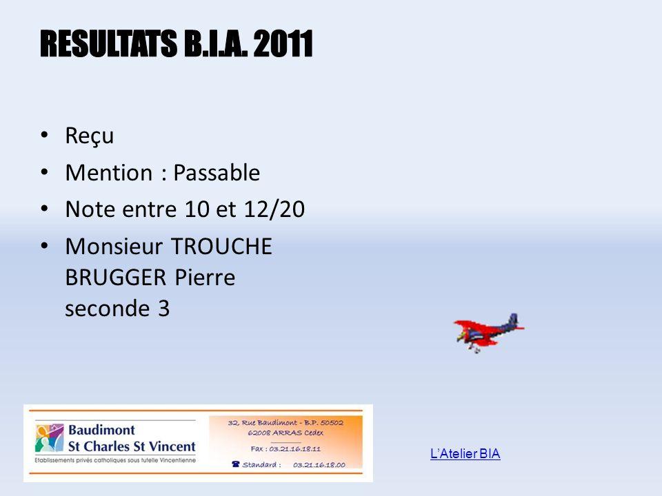 Reçu Mention : Passable Note entre 10 et 12/20 Monsieur TROUCHE BRUGGER Pierre seconde 3 LAtelier BIA