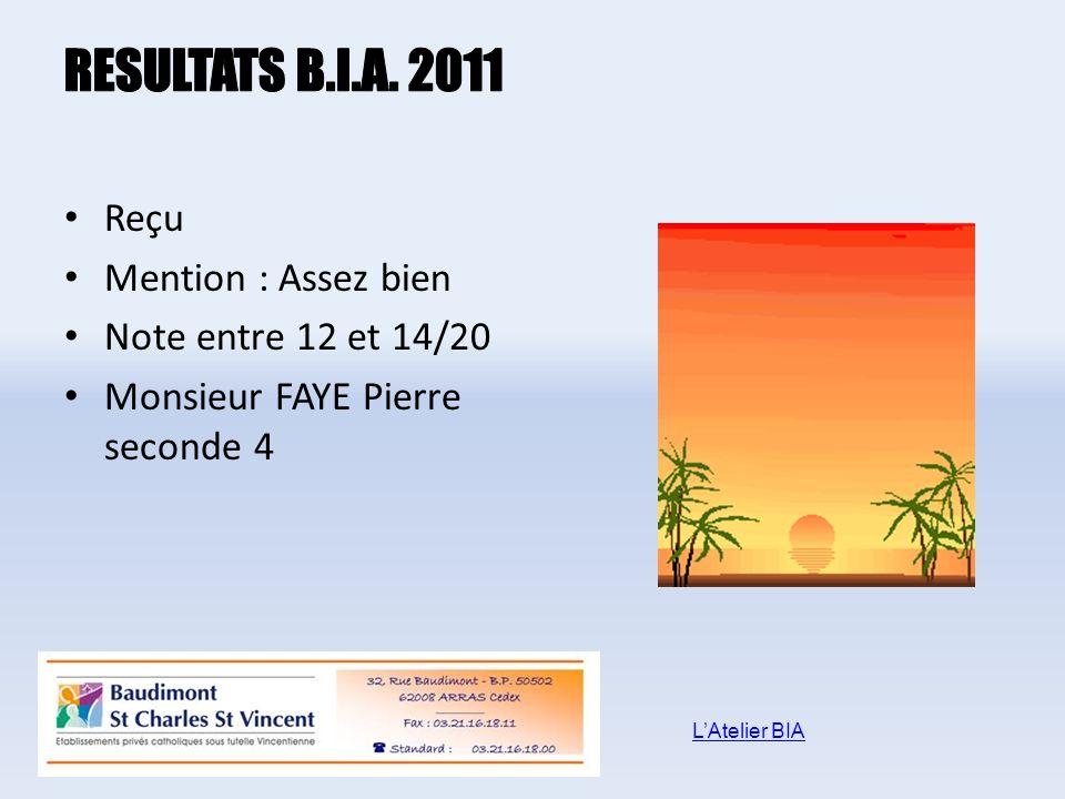 Reçu Mention : Assez bien Note entre 12 et 14/20 Monsieur FAYE Pierre seconde 4 LAtelier BIA