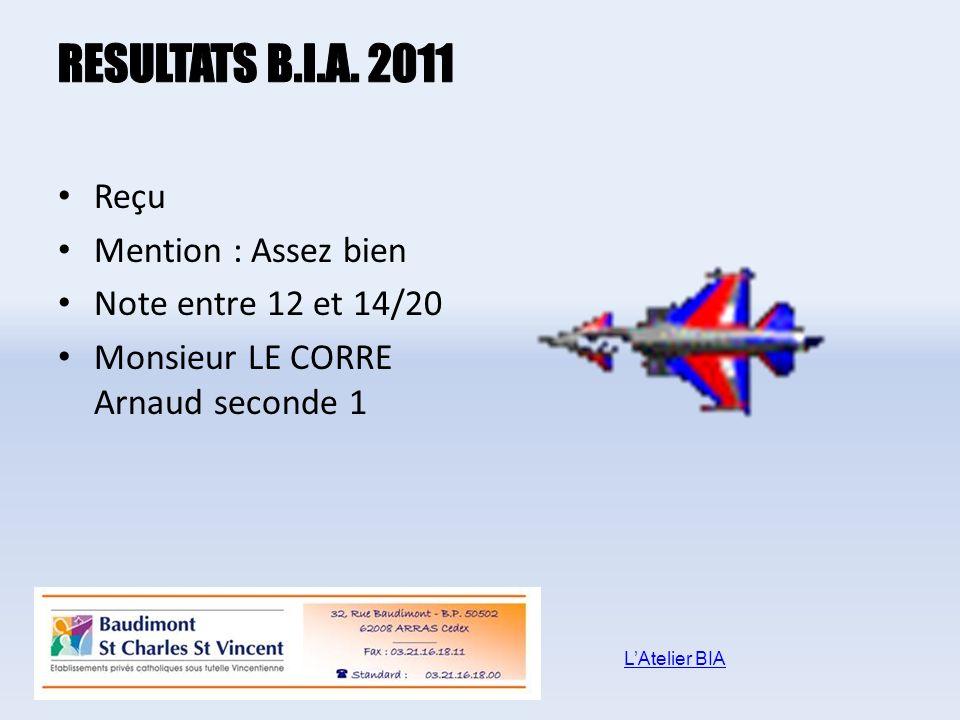 Reçu Mention : Assez bien Note entre 12 et 14/20 Monsieur LE CORRE Arnaud seconde 1 LAtelier BIA