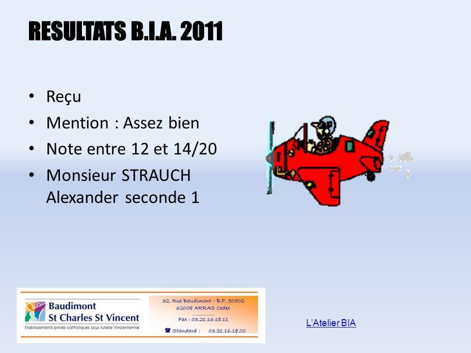 Reçu Mention : Assez bien Note entre 12 et 14/20 Monsieur STRAUCH Alexander seconde 1 LAtelier BIA