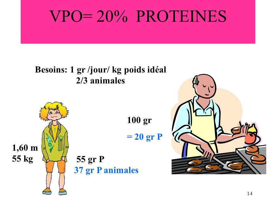 14 VPO= 20% PROTEINES Besoins: 1 gr /jour/ kg poids idéal 2/3 animales 1,60 m 55 kg 55 gr P 37 gr P animales 100 gr = 20 gr P