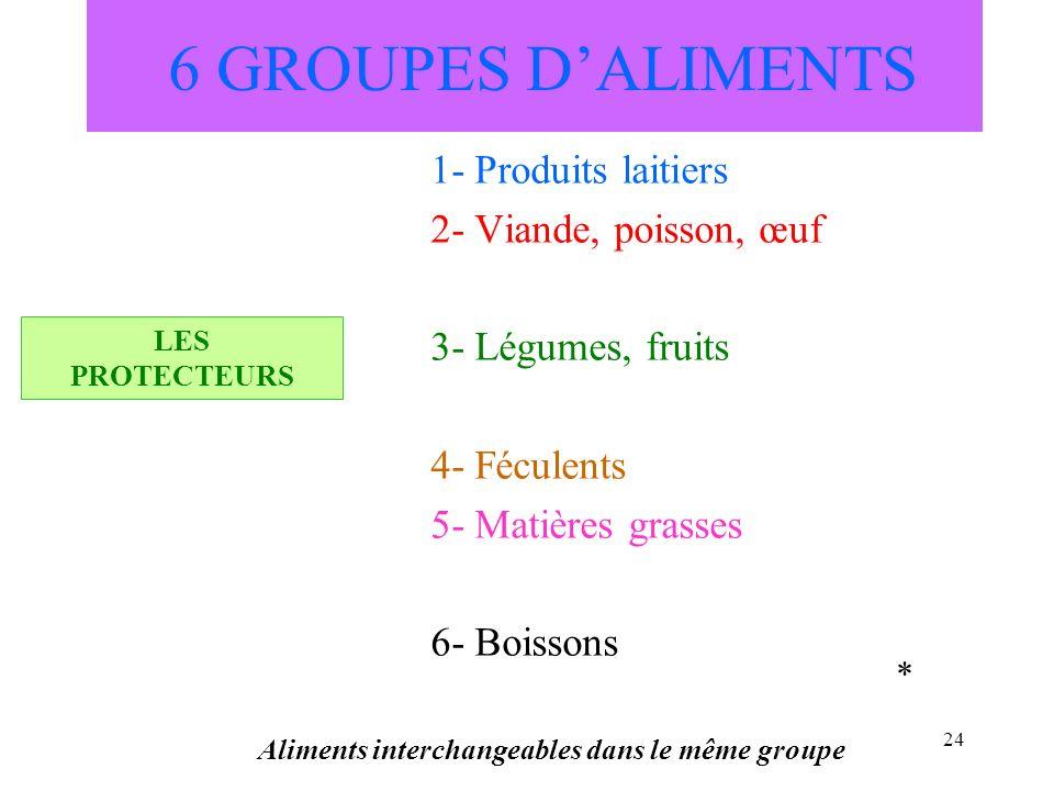 24 6 GROUPES DALIMENTS 1- Produits laitiers 2- Viande, poisson, œuf 3- Légumes, fruits 4- Féculents 5- Matières grasses 6- Boissons Aliments interchan