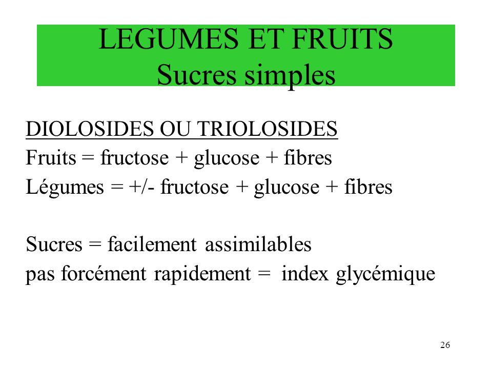 26 DIOLOSIDES OU TRIOLOSIDES Fruits = fructose + glucose + fibres Légumes = +/- fructose + glucose + fibres Sucres = facilement assimilables pas forcé