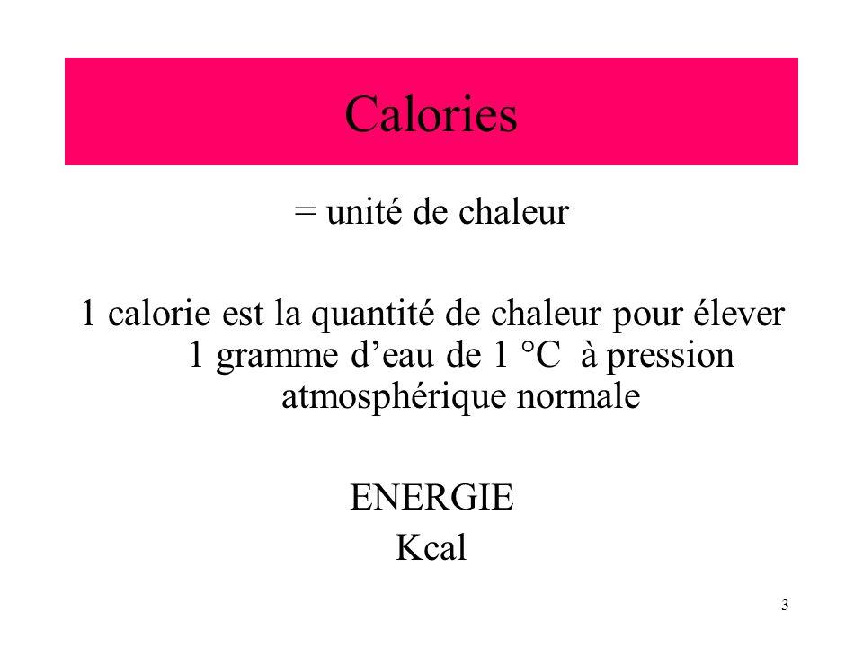 3 Calories = unité de chaleur 1 calorie est la quantité de chaleur pour élever 1 gramme deau de 1 °C à pression atmosphérique normale ENERGIE Kcal