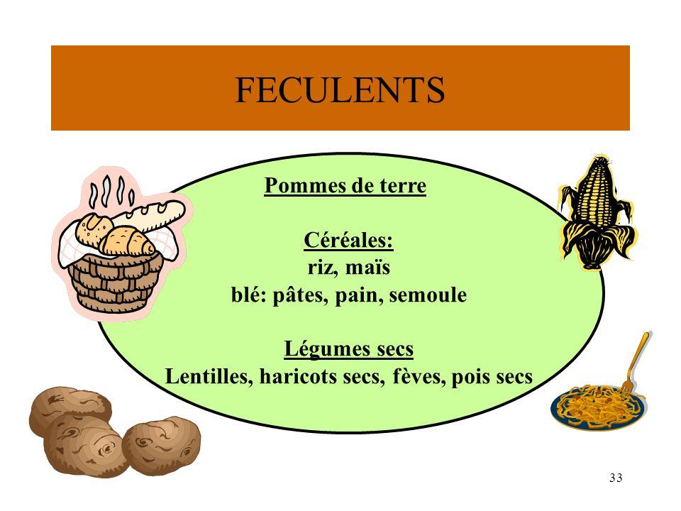 33 FECULENTS Pommes de terre Céréales: riz, maïs blé: pâtes, pain, semoule Légumes secs Lentilles, haricots secs, fèves, pois secs