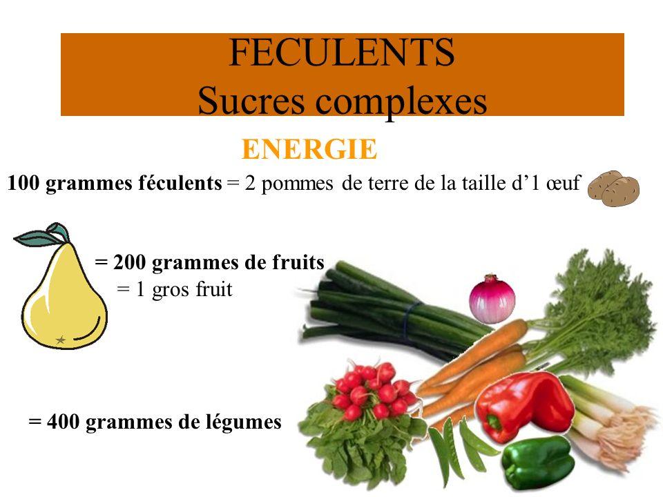 37 ENERGIE FECULENTS Sucres complexes 100 grammes féculents = 2 pommes de terre de la taille d1 œuf = 200 grammes de fruits = 1 gros fruit = 400 gramm