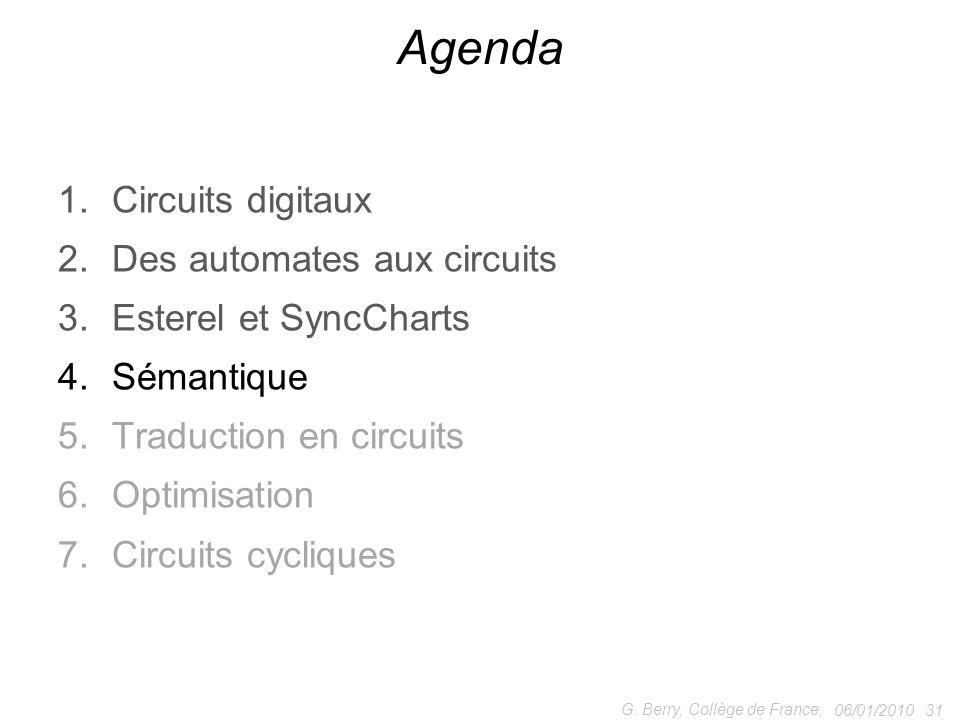 1.Circuits digitaux 2.Des automates aux circuits 3.Esterel et SyncCharts 4.Sémantique 5.Traduction en circuits 6.Optimisation 7.Circuits cycliques 06/01/2010 31 G.