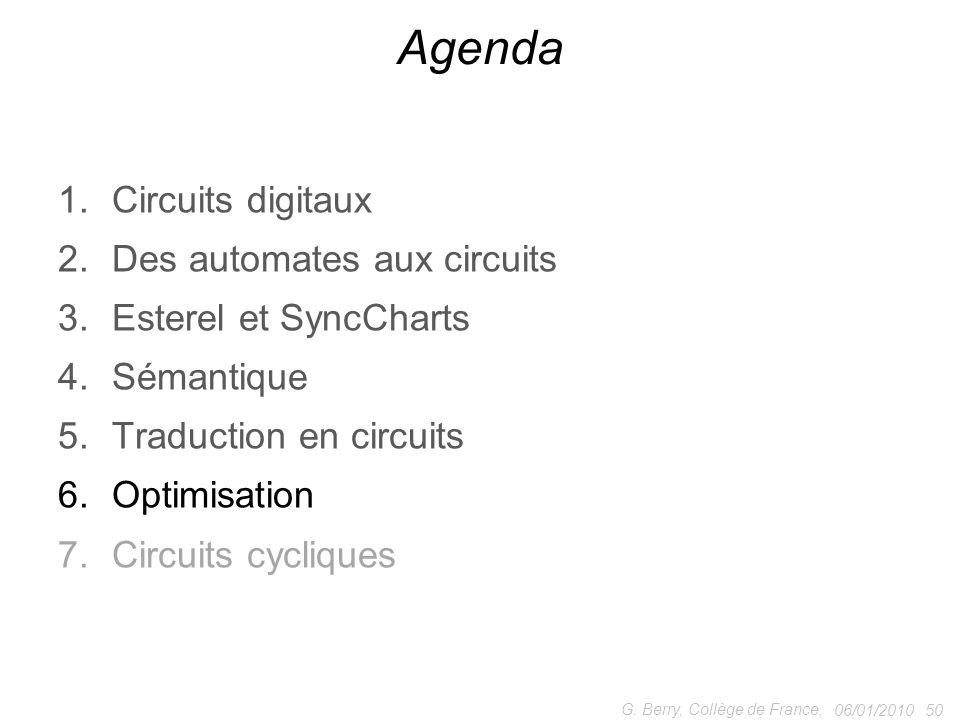 1.Circuits digitaux 2.Des automates aux circuits 3.Esterel et SyncCharts 4.Sémantique 5.Traduction en circuits 6.Optimisation 7.Circuits cycliques 06/01/2010 50 G.