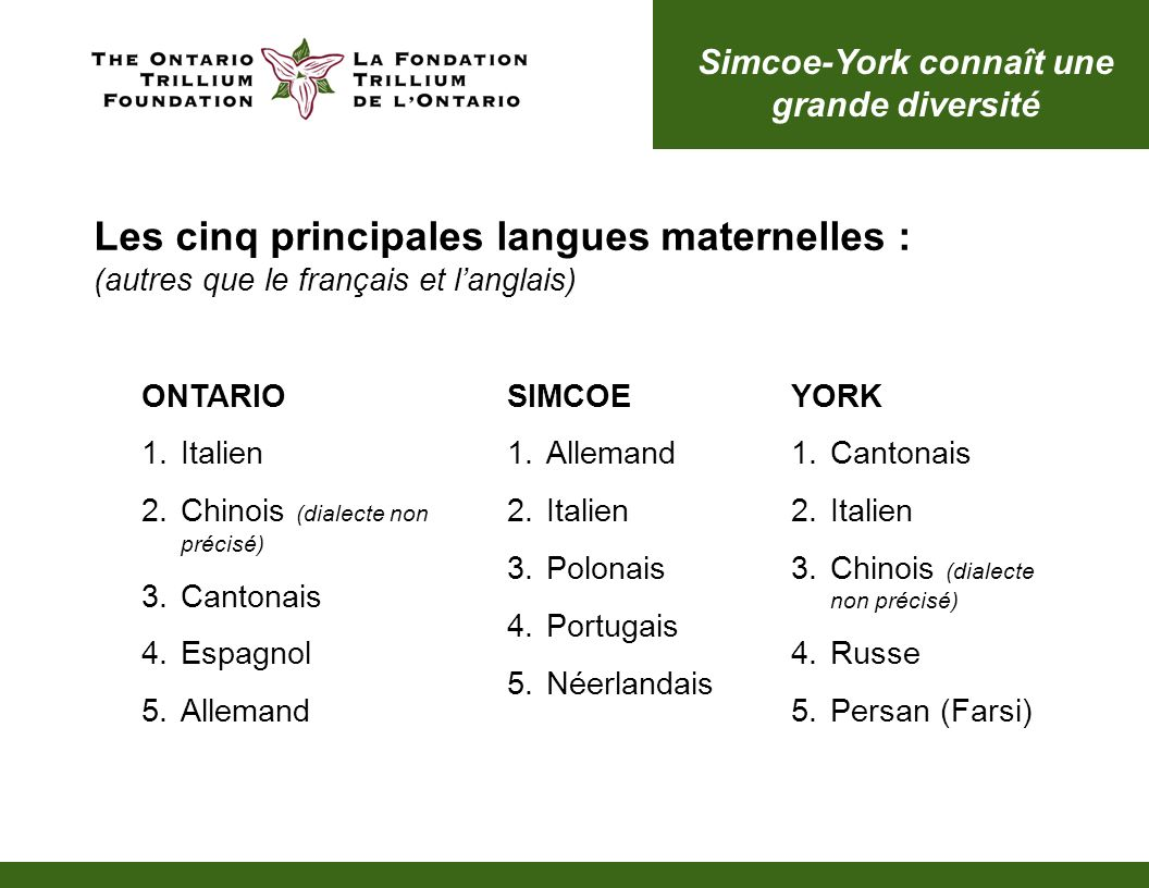 Simcoe-York connaît une grande diversité SIMCOE 1.Allemand 2.Italien 3.Polonais 4.Portugais 5.Néerlandais YORK 1.Cantonais 2.Italien 3.Chinois (dialecte non précisé) 4.Russe 5.Persan (Farsi) Les cinq principales langues maternelles : (autres que le français et langlais) ONTARIO 1.Italien 2.Chinois (dialecte non précisé) 3.Cantonais 4.Espagnol 5.Allemand