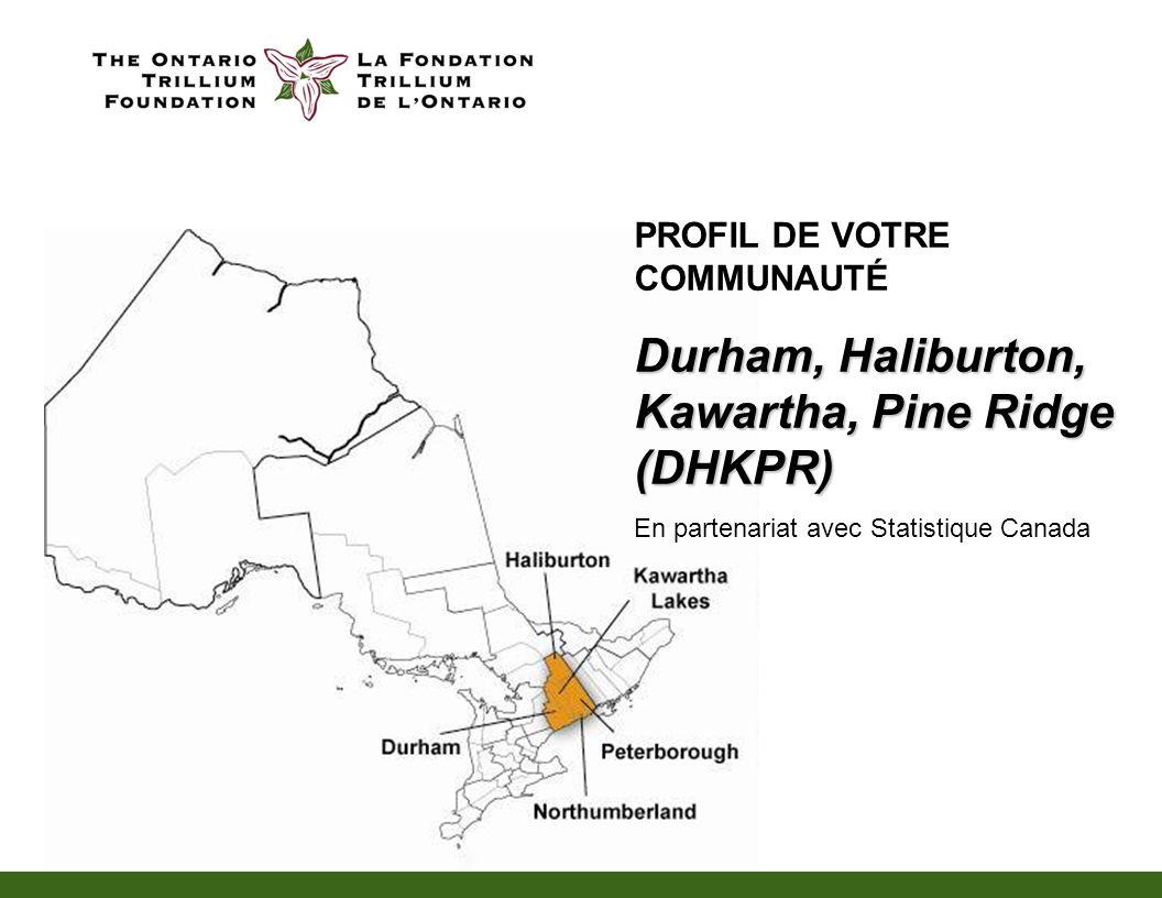 PROFIL DE VOTRE COMMUNAUTÉ Durham, Haliburton, Kawartha, Pine Ridge (DHKPR) En partenariat avec Statistique Canada