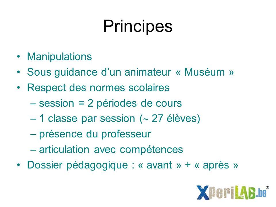 Principes Manipulations Sous guidance dun animateur « Muséum » Respect des normes scolaires –session = 2 périodes de cours –1 classe par session ( 27