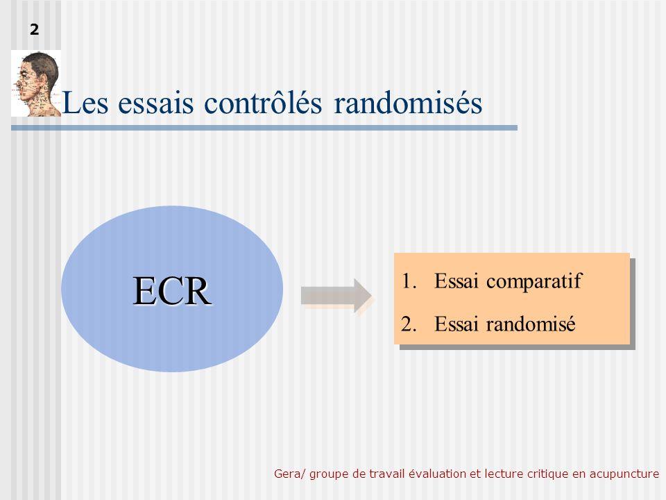 Gera/ groupe de travail évaluation et lecture critique en acupuncture Nombre total dECR (Novembre 2004) Acudoc 2 131.250 références en acupuncture 131.250 références en acupuncture 2364 2364 ECR 3