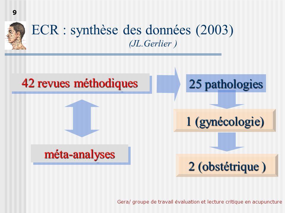 Gera/ groupe de travail évaluation et lecture critique en acupuncture Proctor ML et al.