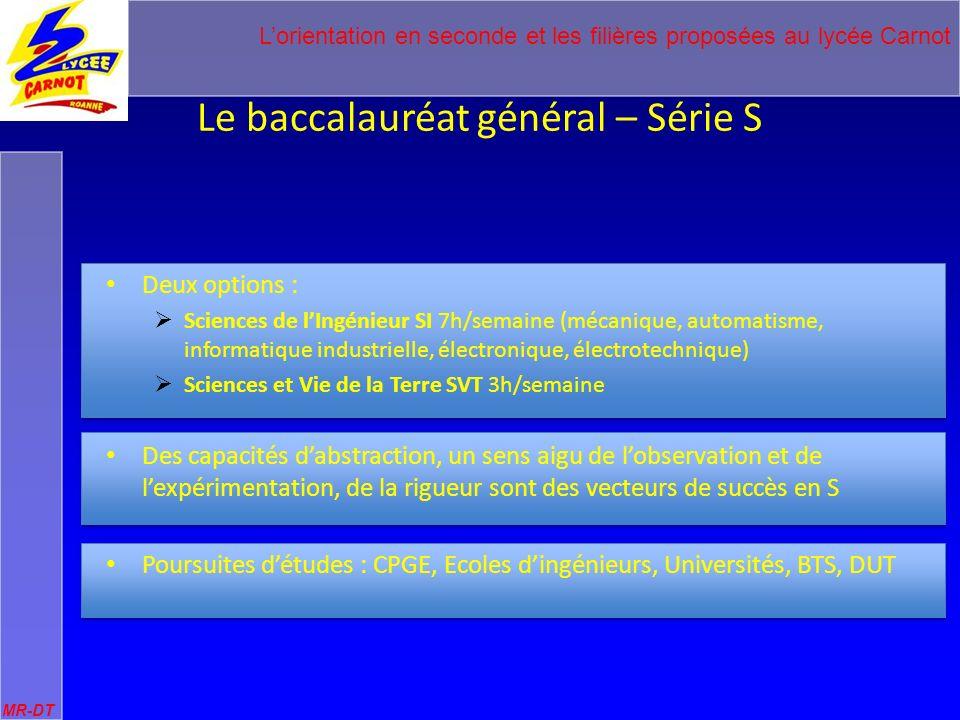 Lorientation en seconde et les filières proposées au lycée Carnot MR-DT Le baccalauréat général – Série S CLASSE DE PREMIERE CLASSE DE TERMINALE