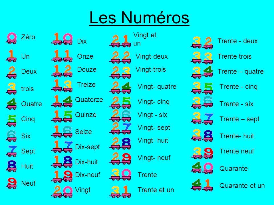 Les Numéros Zéro Deux Un Quatre trois Dix Cinq Onze Douze Treize Quatorze Neuf Huit Sept Six Quinze Vingt et un Vingt-deux Seize Vingt-trois Dix-sept