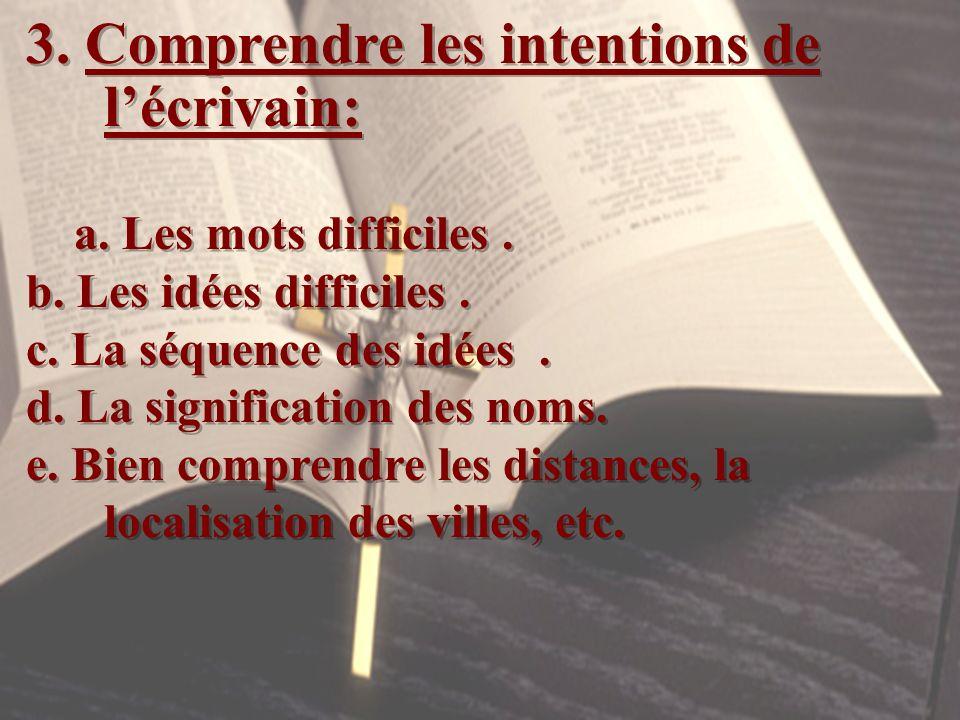3. Comprendre les intentions de lécrivain: a. Les mots difficiles. b. Les idées difficiles. c. La séquence des idées. d. La signification des noms. e.