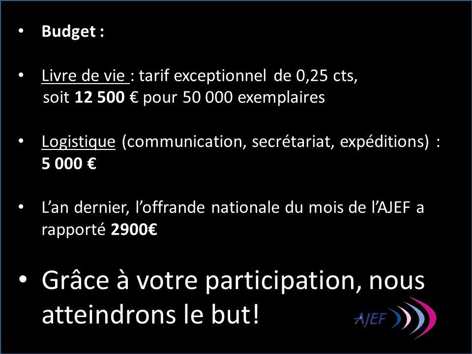 Budget : Livre de vie : tarif exceptionnel de 0,25 cts, soit 12 500 pour 50 000 exemplaires Logistique (communication, secrétariat, expéditions) : 5 0