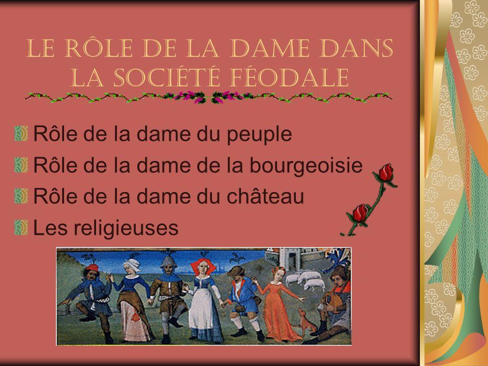Le Rôle de la dame dans la société féodale Rôle de la dame du peuple Rôle de la dame de la bourgeoisie Rôle de la dame du château Les religieuses