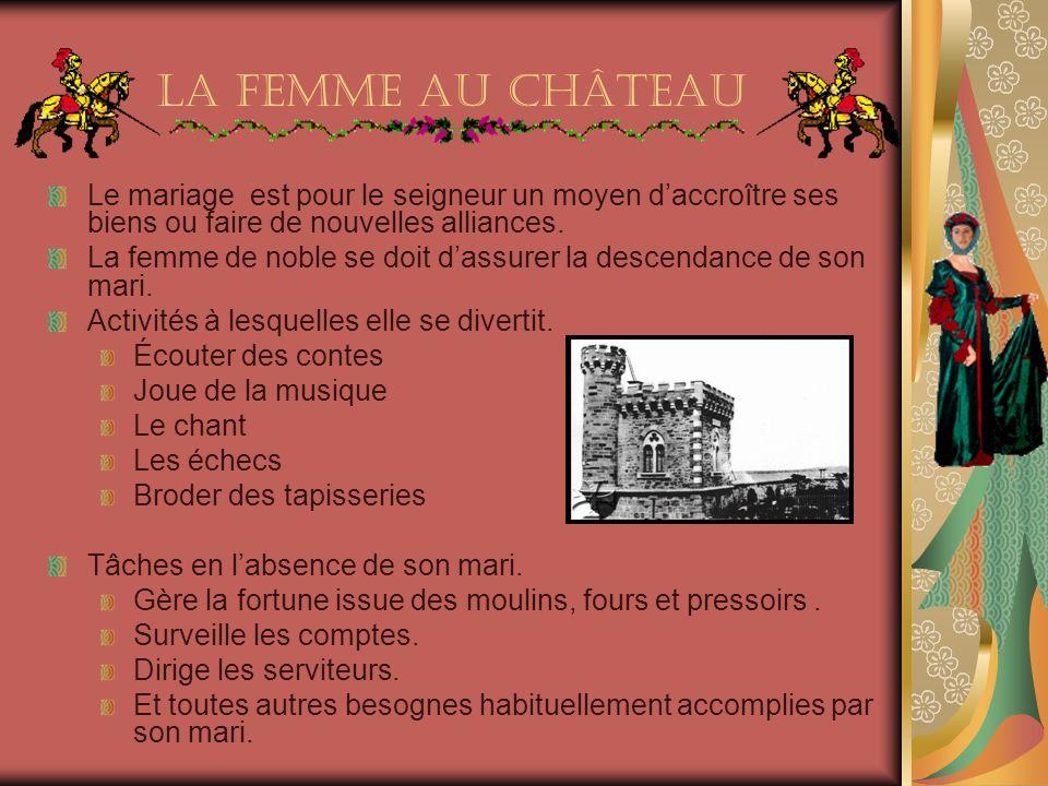 La femme au château Le mariage est pour le seigneur un moyen daccroître ses biens ou faire de nouvelles alliances.