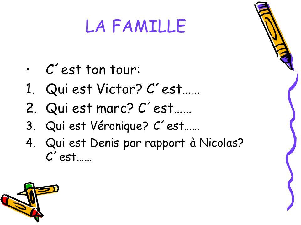 LA FAMILLE C´est ton tour: 1.Qui est Victor? C´est…… 2.Qui est marc? C´est…… 3.Qui est Véronique? C´est…… 4.Qui est Denis par rapport à Nicolas? C´est