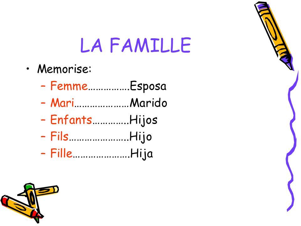 LA FAMILLE Memorise: –Femme…………….Esposa –Mari…………………Marido –Enfants…………..Hijos –Fils…………………..Hijo –Fille………………….Hija