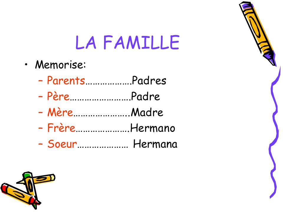 LA FAMILLE Memorise: –Parents……………….Padres –Père…………………….Padre –Mère…………………..Madre –Frère………………….Hermano –Soeur………………… Hermana