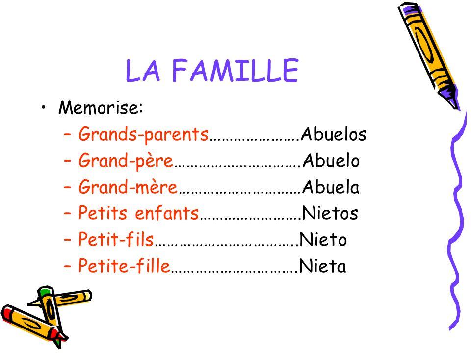 LA FAMILLE Memorise: –Grands-parents………………….Abuelos –Grand-père………………………….Abuelo –Grand-mère…………………………Abuela –Petits enfants…………………….Nietos –Petit-fil