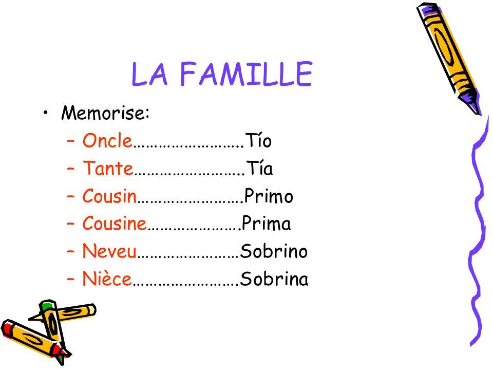 LA FAMILLE Memorise: –Oncle……………………..Tío –Tante……………………..Tía –Cousin…………………….Primo –Cousine………………….Prima –Neveu……………………Sobrino –Nièce…………………….Sobrina