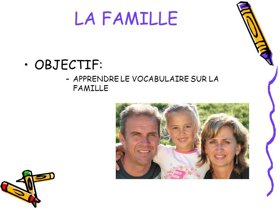 OBJECTIF: –APPRENDRE LE VOCABULAIRE SUR LA FAMILLE