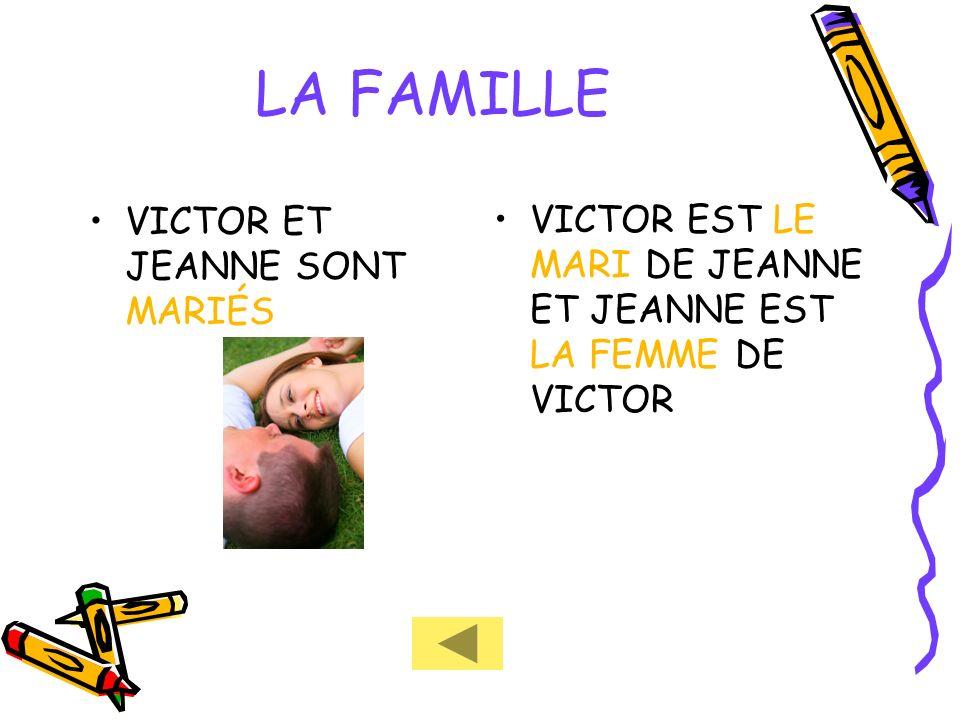 LA FAMILLE VICTOR ET JEANNE SONT MARIÉS VICTOR EST LE MARI DE JEANNE ET JEANNE EST LA FEMME DE VICTOR