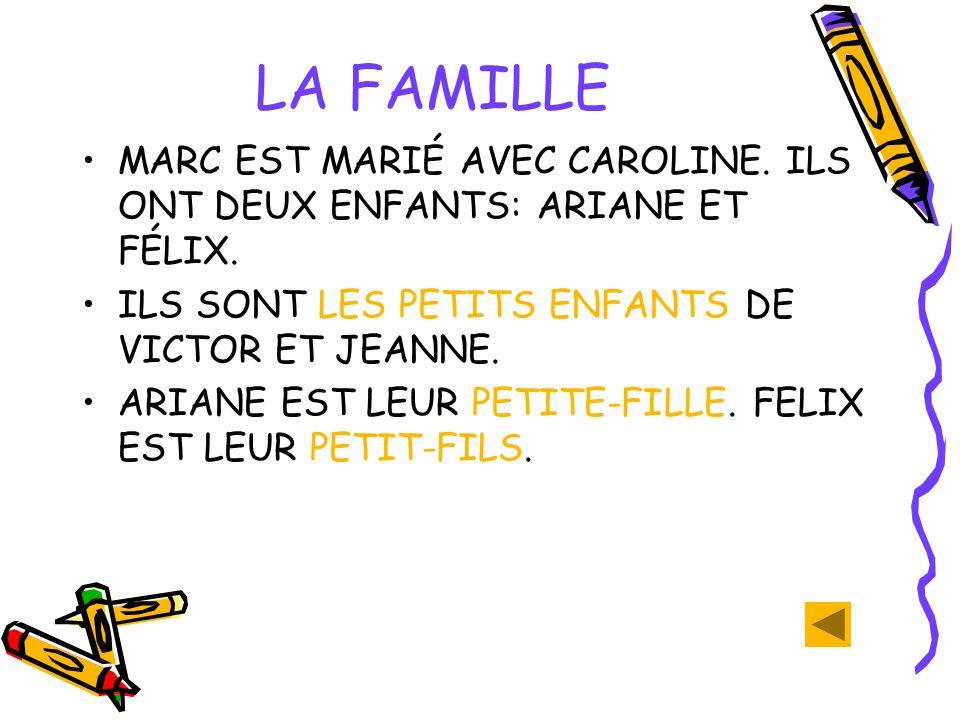 LA FAMILLE MARC EST MARIÉ AVEC CAROLINE.ILS ONT DEUX ENFANTS: ARIANE ET FÉLIX.