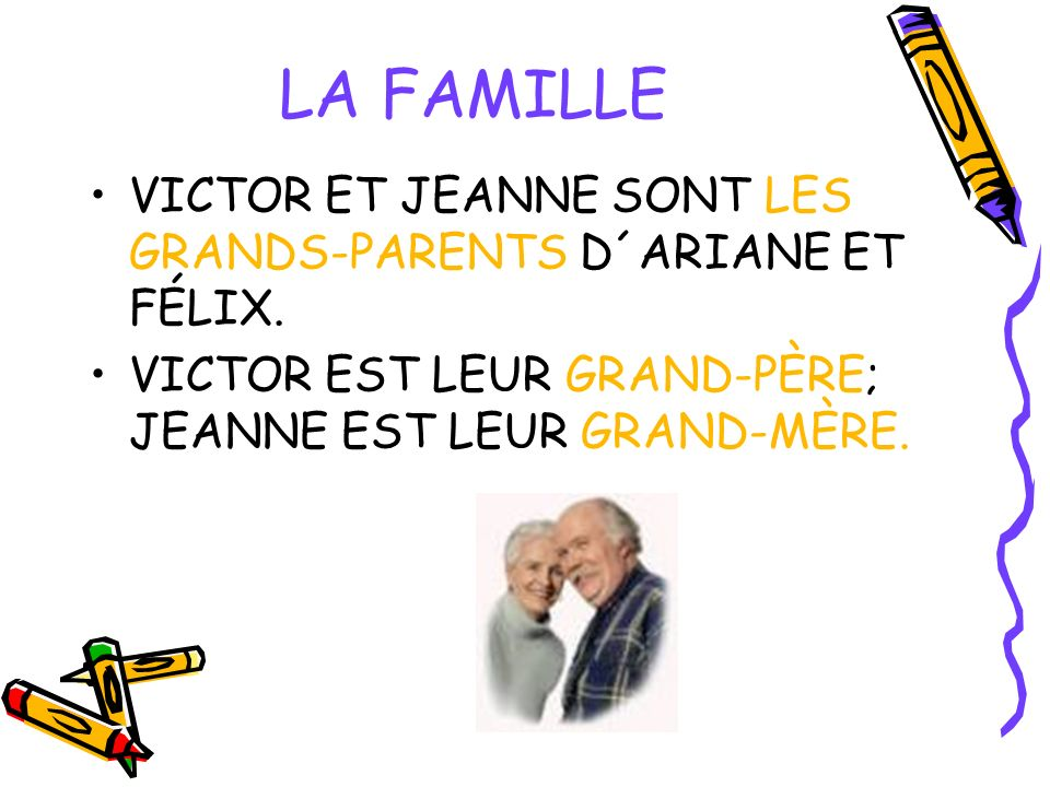 LA FAMILLE VICTOR ET JEANNE SONT LES GRANDS-PARENTS D´ARIANE ET FÉLIX. VICTOR EST LEUR GRAND-PÈRE; JEANNE EST LEUR GRAND-MÈRE.