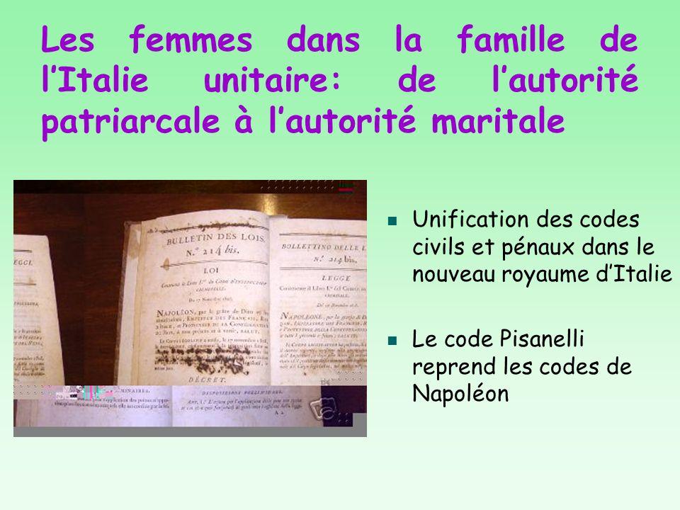 Les femmes dans la famille de lItalie unitaire: de lautorité patriarcale à lautorité maritale Unification des codes civils et pénaux dans le nouveau r