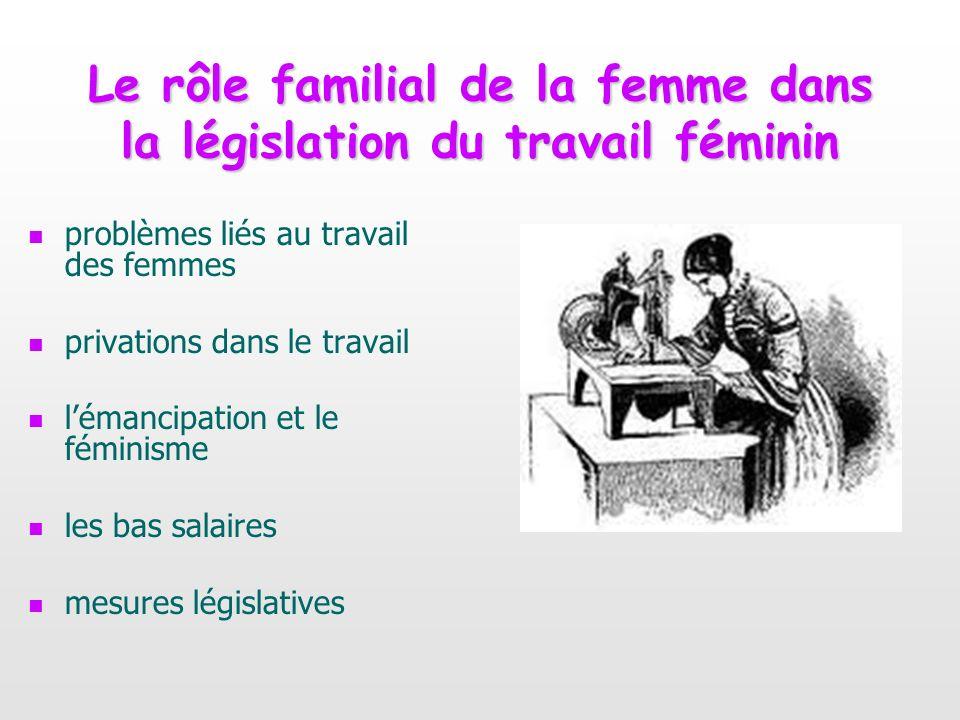 Le rôle familial de la femme dans la législation du travail féminin problèmes liés au travail des femmes privations dans le travail lémancipation et l