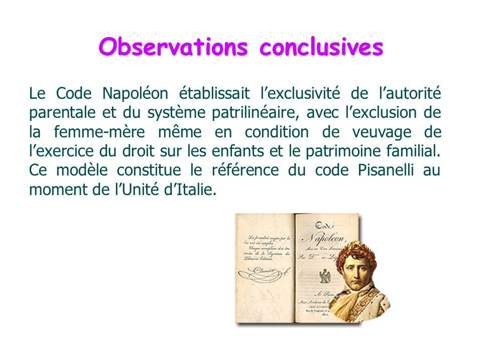 Observations conclusives Le Code Napoléon établissait lexclusivité de lautorité parentale et du système patrilinéaire, avec lexclusion de la femme-mèr