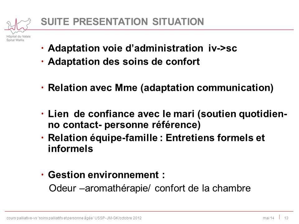| Adaptation voie dadministration iv->sc Adaptation des soins de confort Relation avec Mme (adaptation communication) Lien de confiance avec le mari (